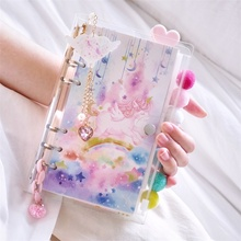 Ins girl Loose leaf Unicorn ocean Cherry blossoms series Spiral Travelers Notebook 6 Hole Cute Removable Diary Gift Suit A5 A6
