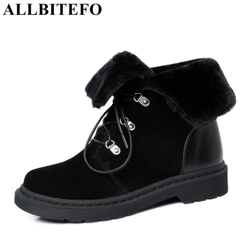 ALLBITEFO large size:34-42 Nubuck leather thick heel platform women boots fashion casual medium heel winter boots girls boots цена 2017