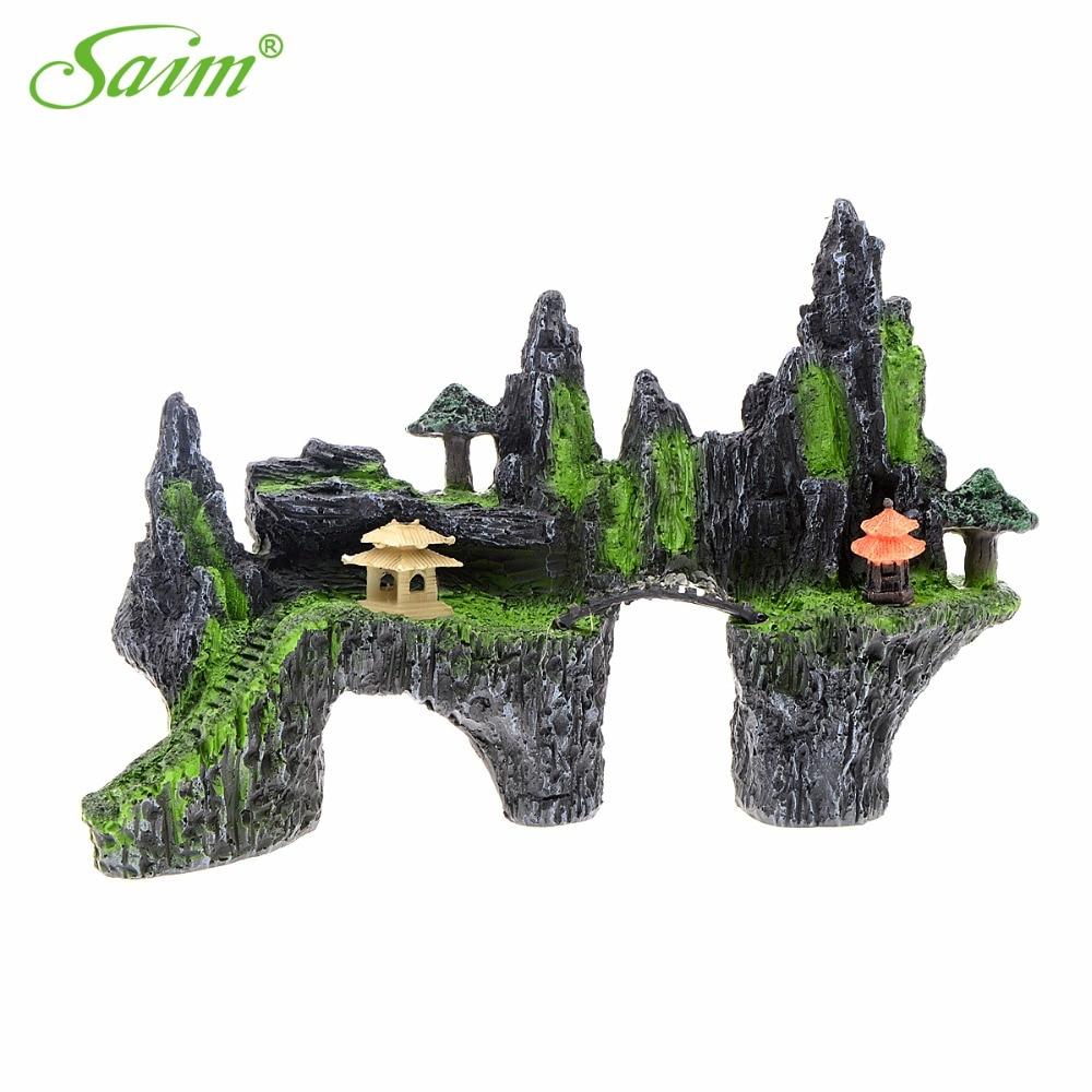 Grande pierre de rocaille artificielle pour Aquariums vue sur la montagne Aquarium ornement arbre maison pont poisson réservoir décoration