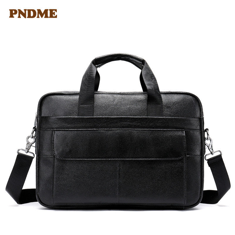 PNDME Genuine Leather Casual Men's Briefcase Large Capacity 14 Inch Laptop Bag Top Layer Cowhide Shoulder Bag Crossbody Bags