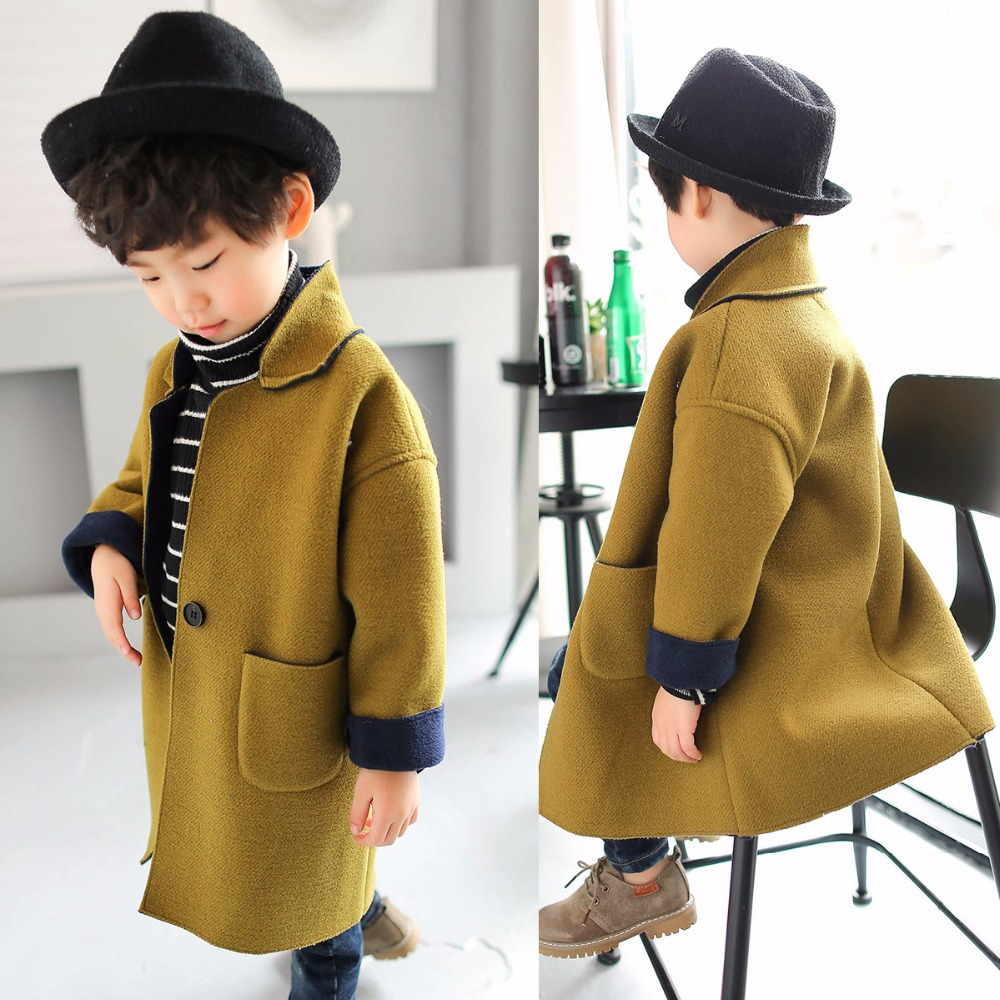 754d4f2f8bfb Girls Wool Coat 2018 Fall Korean Fashion Trench Coat Kids Casual ...