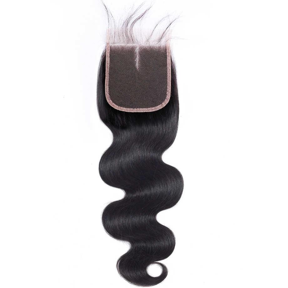 Бразильские кружевные закрытые объемные волнистые 4*4 свободные/Средние/три части hd Кружева Закрытие 100% натуральный цвет Remy человеческие волосы