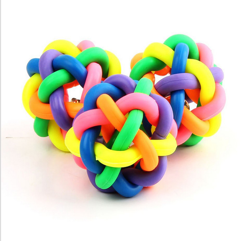 Rubber Ball Dog Toy : Pc design pets rope ball toys bite colorful squeak