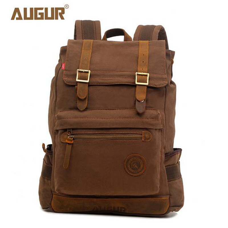 AUGUR Vintage Retro Canvas Backpack Travel Casual Leather Bags for both Women and Men Bookbag for Teen Girls and Boys PD0232 top hot cow leather canvas backpack women vintage backpack casual travel men backpack climbing bag for girls boys
