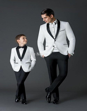 Tailor Made White Blazer Black Lapel Father And Son Suit 2 Pieces Wedding Prom Party Suits For Men Best Man Attire Jacket+Pants