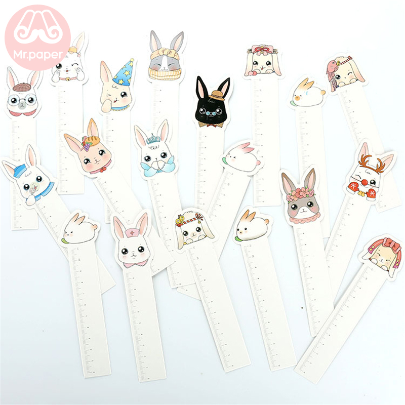 Mr Paper 30pcs/box Kawaii Rabbit Ruler Irregular Bookmarks For Novelty Book Reading Maker Page Writing ToolPaper Ruler Bookmarks