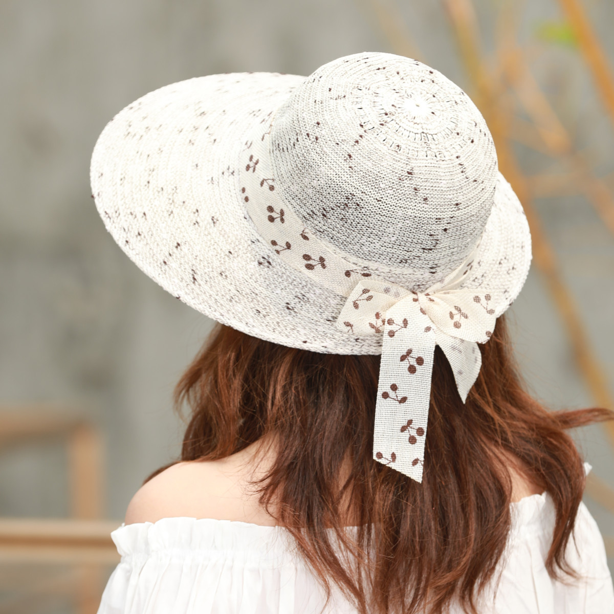 New female mixed color bow big visor spring and summer knitted outdoor sun protection sun hat can be slightly folded in Women 39 s Sun Hats from Apparel Accessories