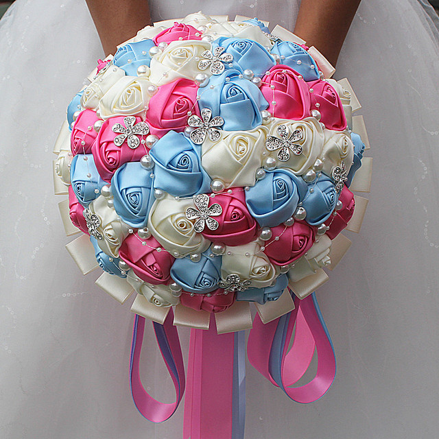 Light Blue Flowers For Weddings: Noble Pearl Diamond Jewelry Wedding Bouquet Hot Pink Ivory