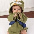 Colorida del cabrito del bebé albornoces de toalla de baño con capucha lindo tiburón búho Hippo forma búho verde