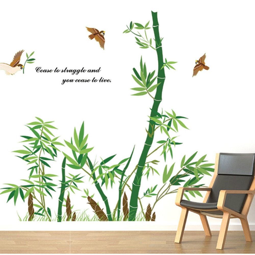Chinese style traditional bamboo sticker pastoral green for Poster mural zen deco