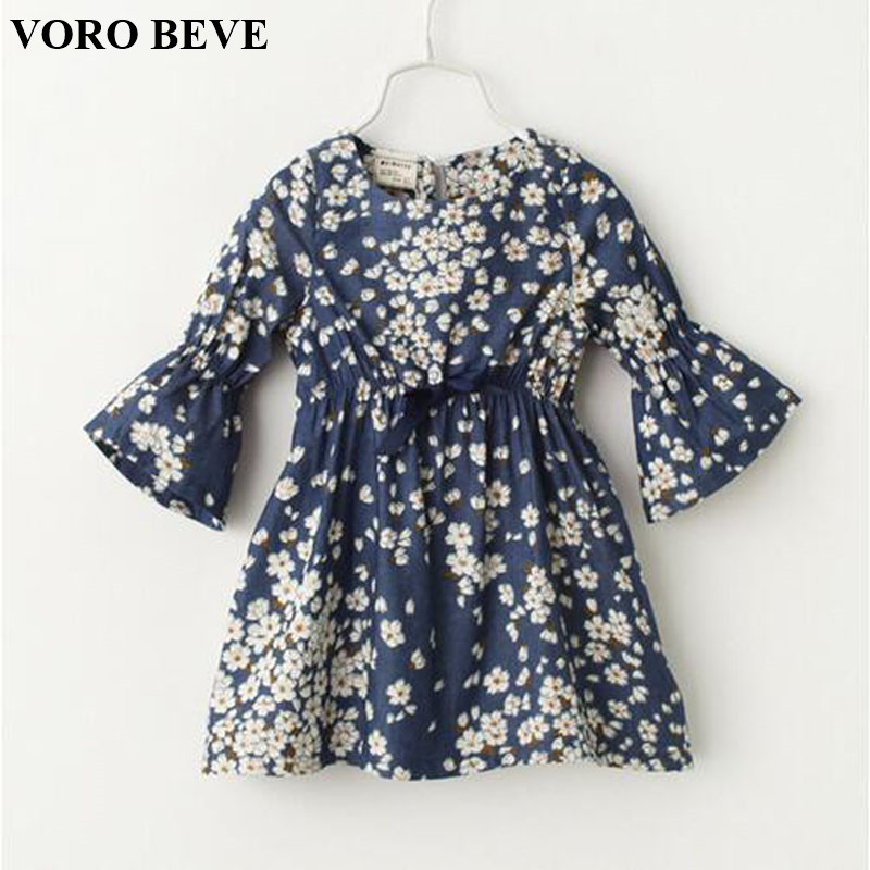 VORO BEVE 2017 New Girl Clothes Princess Dresses Denim Dress Floral Print Jean Dress Children Clothing