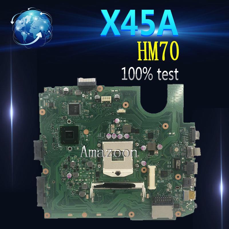 Carte mère d'ordinateur portable Amazoon X45A pour ASUS X45A Test carte mère d'origine HM70 DDR3