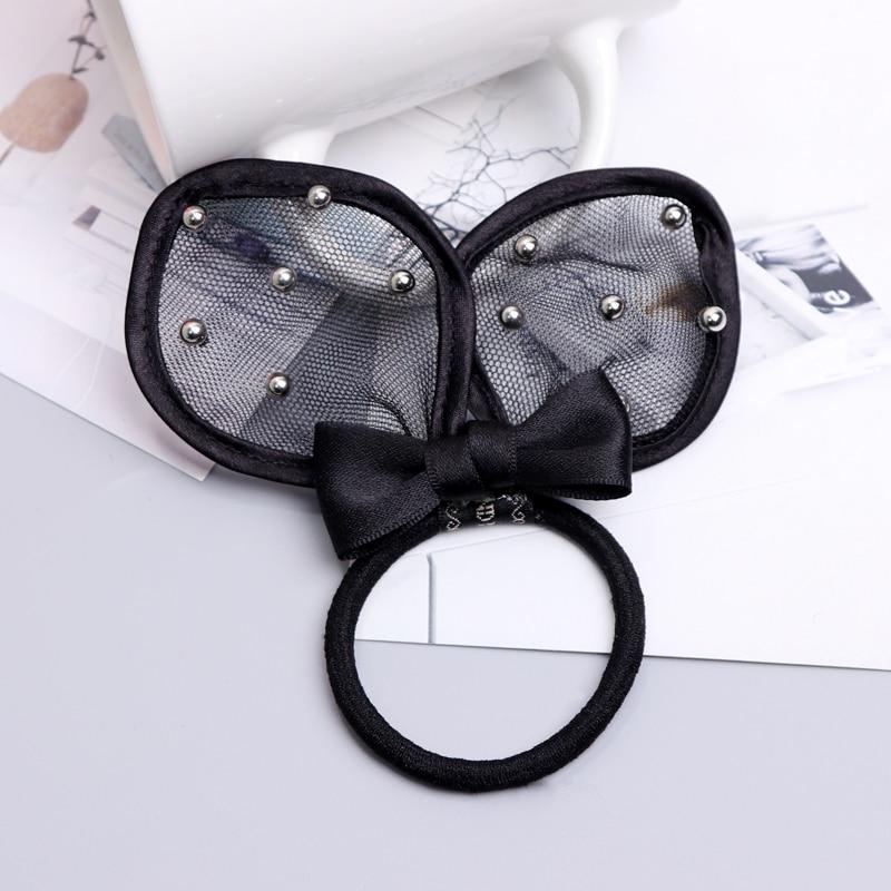 New Korean Cute Black Rabbit Ear Hair Bows Elastic Hair Bands Girls Hair Rope Women Ties Ponytail Rubber Band Hair Accessories