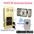 WiFi Smart Video Doorphone Intercom System 1.0MP HD 720P IP Camera Waterproof Iphone Android APP Remote Control Unlock