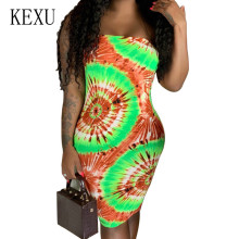 KEXU Vintage Sexy Strapless Sleeveless Bodycon Dress Elegant Off Shoulder Fashion Tie Dyeing Printed Summer Vestidos