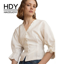 HDY Haoduoyi Women Short Sleeve Button Shirt 2018 Summer Autumn New Style Minimalism Retro Viscose Linen Pure Color Fold