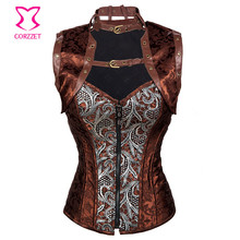 Corzzet Vintage Black Embroidery Front Zipper Steel Boned Overbust Corsets And Jacket Waist Slimming Steampunk Clothing