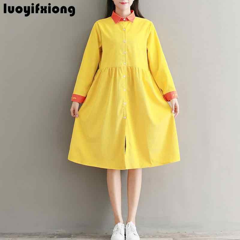 225cd7badcc Luoyifxiong 2018 Винтаж желтый и зеленый цвета платье-рубашка с длинными  рукавами Для женщин в