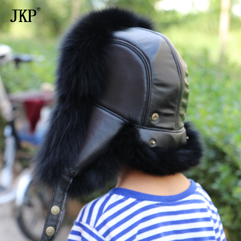 JKP 2018 new Real Fox fur Thicken Boy Girl Fashion Autumn Winter Hat Bomber Leather Top very warm Raccoon Fur hat for kid HT-27 new autumn winter warm children fur hat women parent child real raccoon hat with two tails mongolia fur hat cute round hat cap
