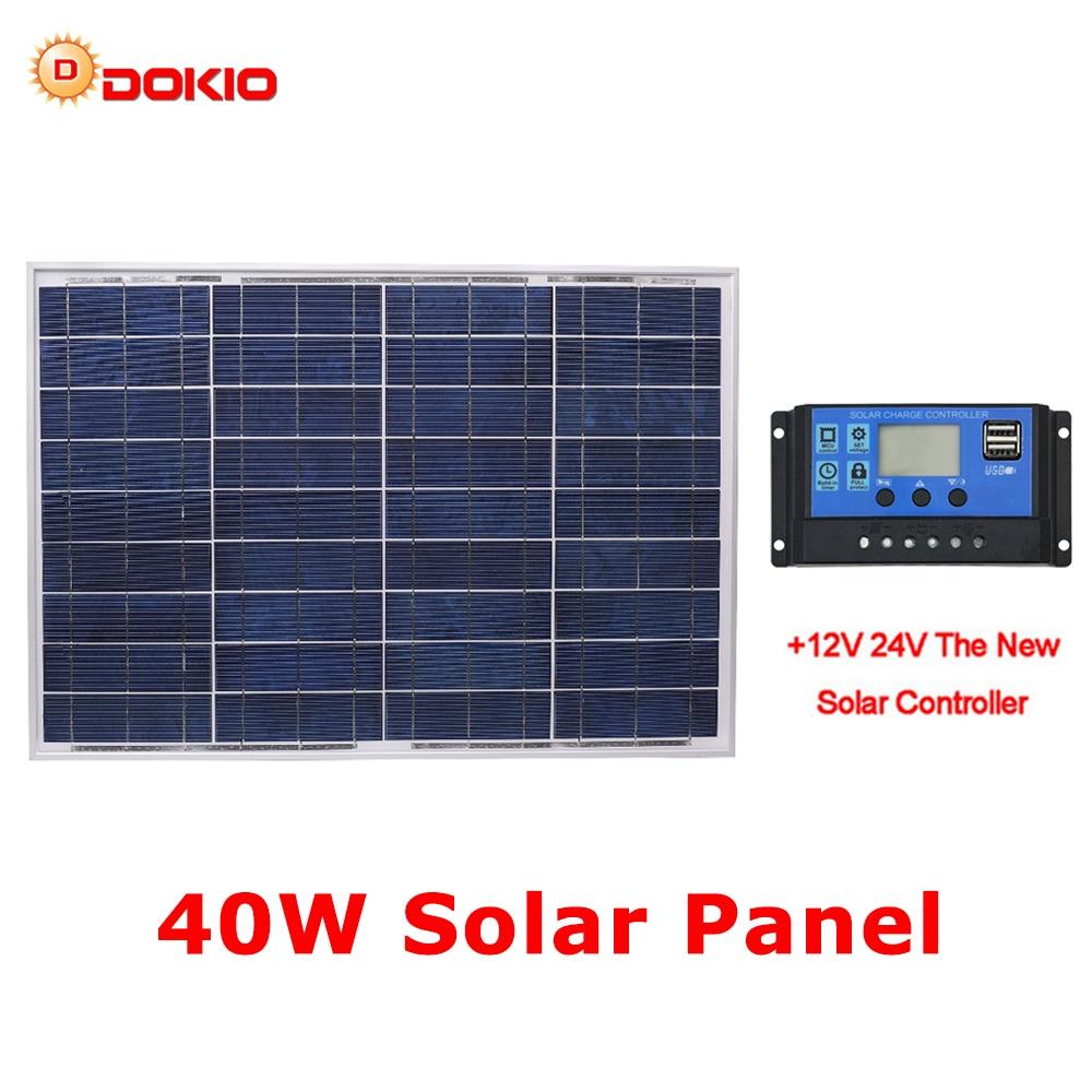 DOKIO 18 v 40 w Polycristallin Panneau Solaire 460*660*25mm Silicon Power Painel Top Qualité Solaire batterie chine Solaire Fotovoltaico