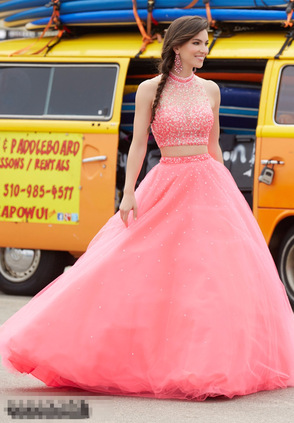 Moderno Vestido De Fiesta Bajo Alta De Coral Ideas Ornamento ...