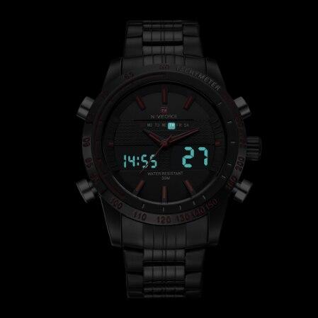 NAVIFORCE 9024 мужские спортивные часы модные роскошные мужские кварцевые брендовые аналоговые цифровые часы полностью стальные мужские наручны... - 2