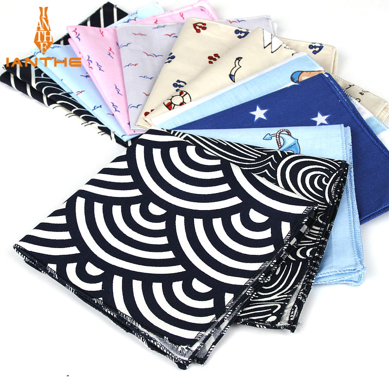Brand New Men's Cotton Handkerchief Navy Printed Pocket Square Wedding 25cm*25cm Hankies For Men Classic Anchor Pocket Towel