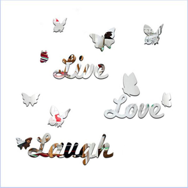 Live Love Laugh Quote Enchanting 16Pcsset Acrylic Live Love Laugh Quote Butterfly Decora Mirror