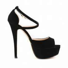 2015  Fashion Women  Summer Pumps Ankle Strap Suede Soft Leather Buckle Cross-Strap Sweet Peep Toe  Party Thin Heels Pumps