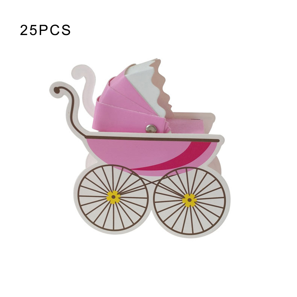 25 Pcs Baby Shower Newborn Baby Candy Box Lovely Mini Stroller Candy Boxes Lovely Babyshower Kid's Party Gift Boxes