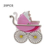 25 Pcs Lovely Mini Stroller Candy Boxes Paper Newborn Baby Candy Box Lovely Babyshower Kid's Party Gift Boxes 8 x 3 x 9cm(China)