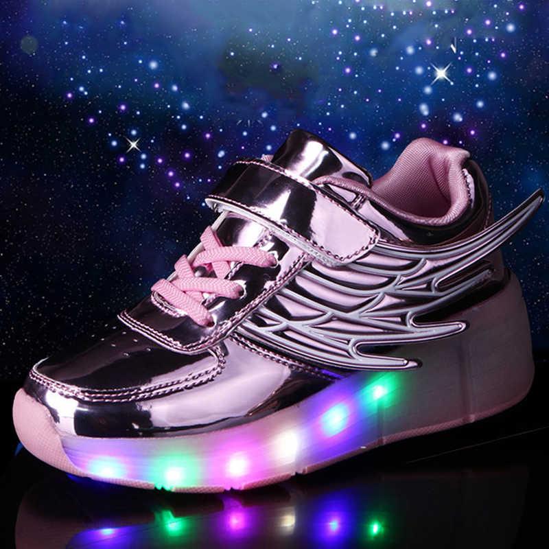 2019 זוהר סניקרס ילדים זוהר סניקרס עם גלגלי ילדי נעלי Led אור עד ילדים רולר גלגיליות Sneakes עבור בני בנות