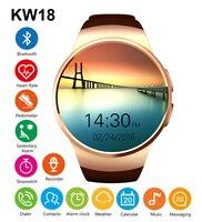 חדש KW18 Bluetooh שעון חכם קצב לב צג תמיכת SIM TF כרטיס Smartwatch עבור iPhone 6 6 s פלוס סמסונג Huawei IOS אנדרואיד