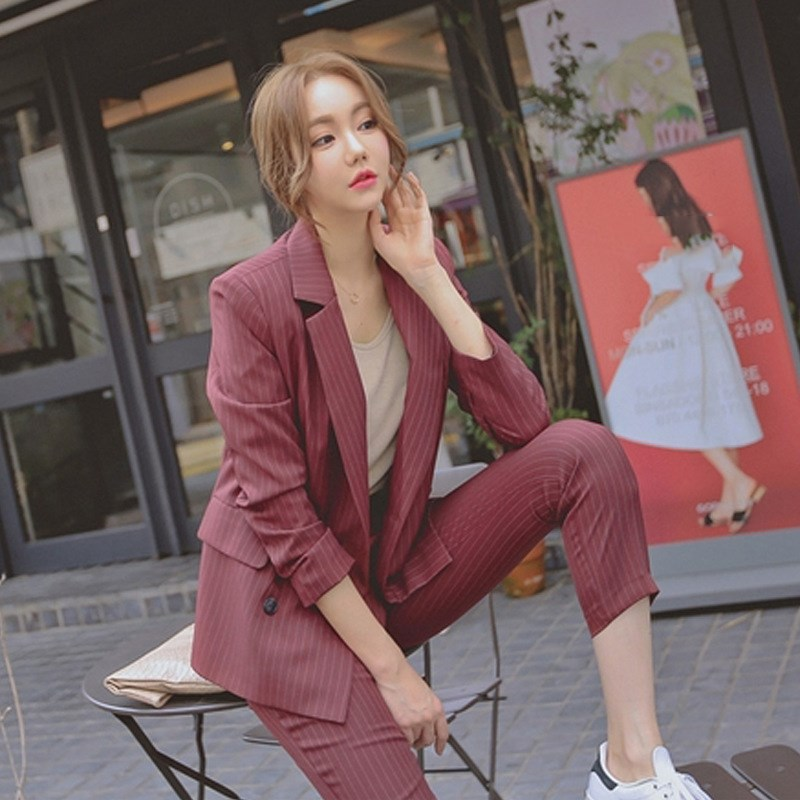 2019 Fashion Work Pant Suits Women 2 Piece Set Double Breasted Striped Blazer Jacket  Trouser Office Lady Suit