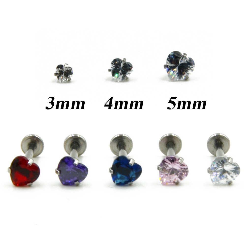 40pieces Internally Thread Heart Shaped Crystal Labret Lip Ring Piercing Monroe Jewelry Ear Tragus Body Stud Helix Cartilage