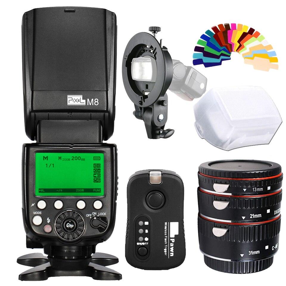 Pixel M8 Intégré 2.4g Sans Fil Caméra Flash Speedlite + TF-361 Trigger + Bowens Support pour Canon 5D2 5D3 70D 7D 6D 1100D 650D