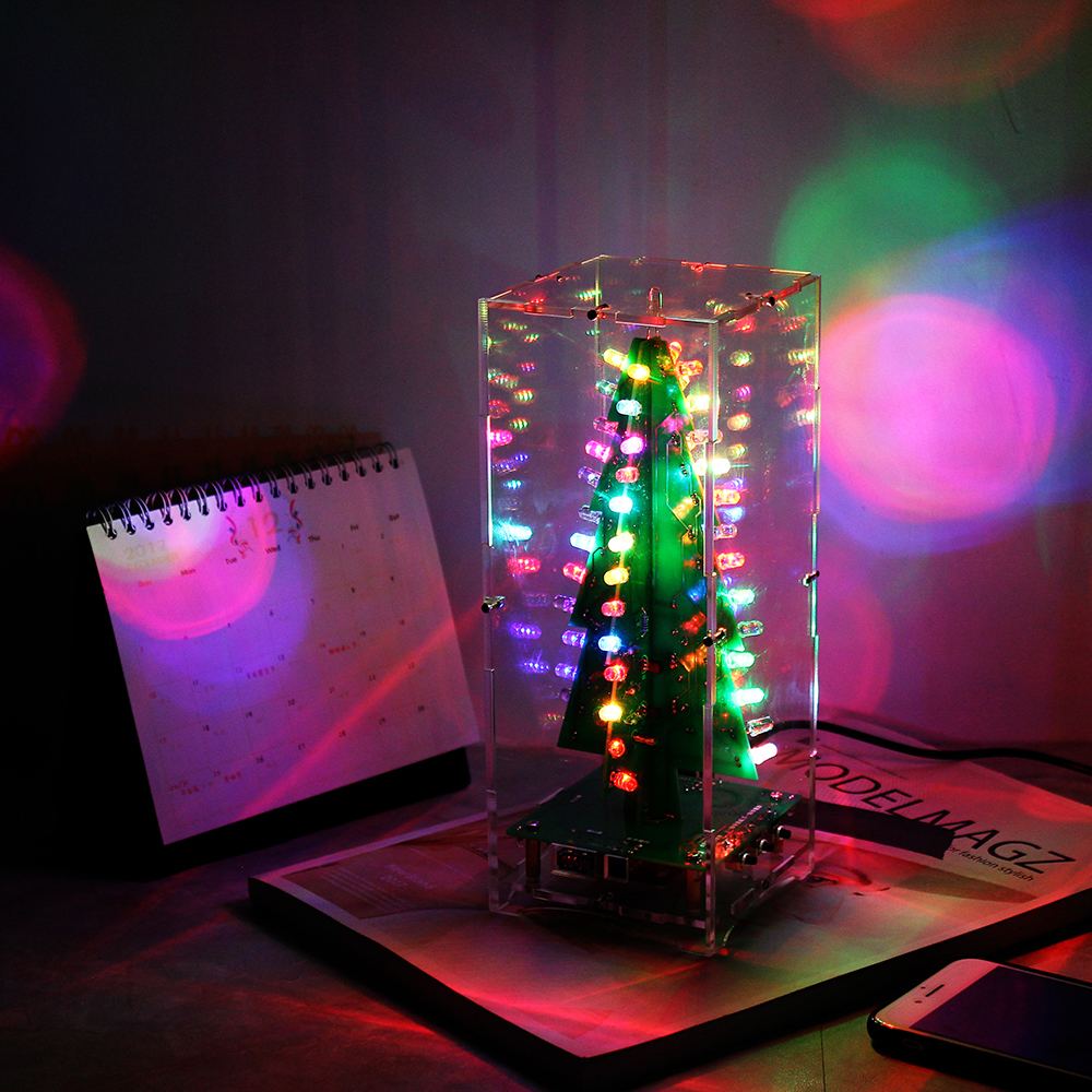 DIY Kit RGB Flash LED Circuit Colorful Christmas Trees Kit MP3 Music Box with Shell for Gift 3D Christmas Trees Kit colorful trees 3d printing home wall hanging tapestry for decoration