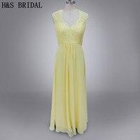 Real photo V neck lace and chiffon yellow bridesmaid dresses