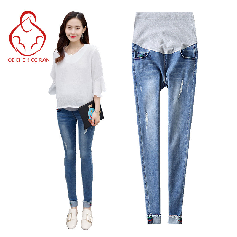 2017 Pregnant woman with jeans high waist care belly jeans Pregnant woman pregnant women pants Maternity pregnant clothes vintage women jeans calca feminina 2017 fashion new denim jeans tie dye washed loose zipper fly women jeans wide leg pants woman
