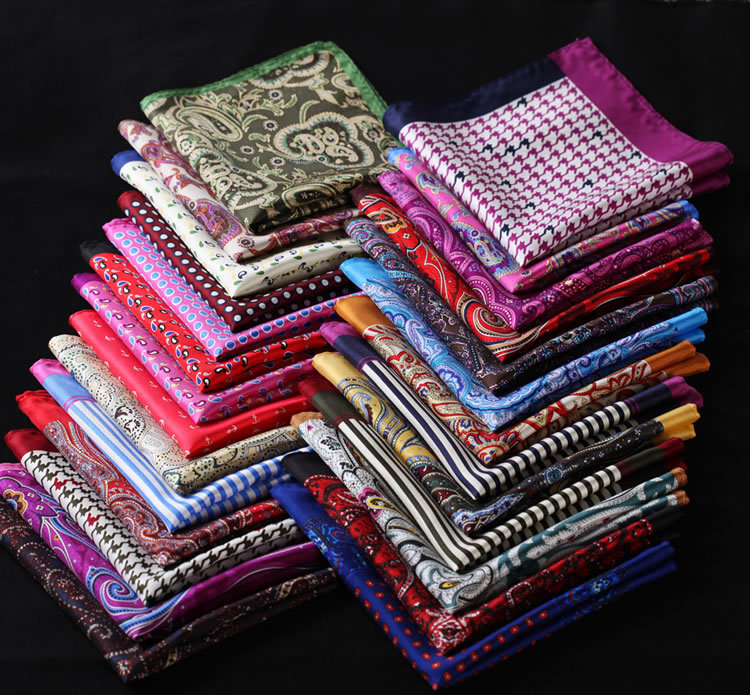 RB Paisley Floral Houndstooth Handkerchief 100% Natural Silk Satin Mens Hanky Fashion Classic Wedding Party Pocket Square