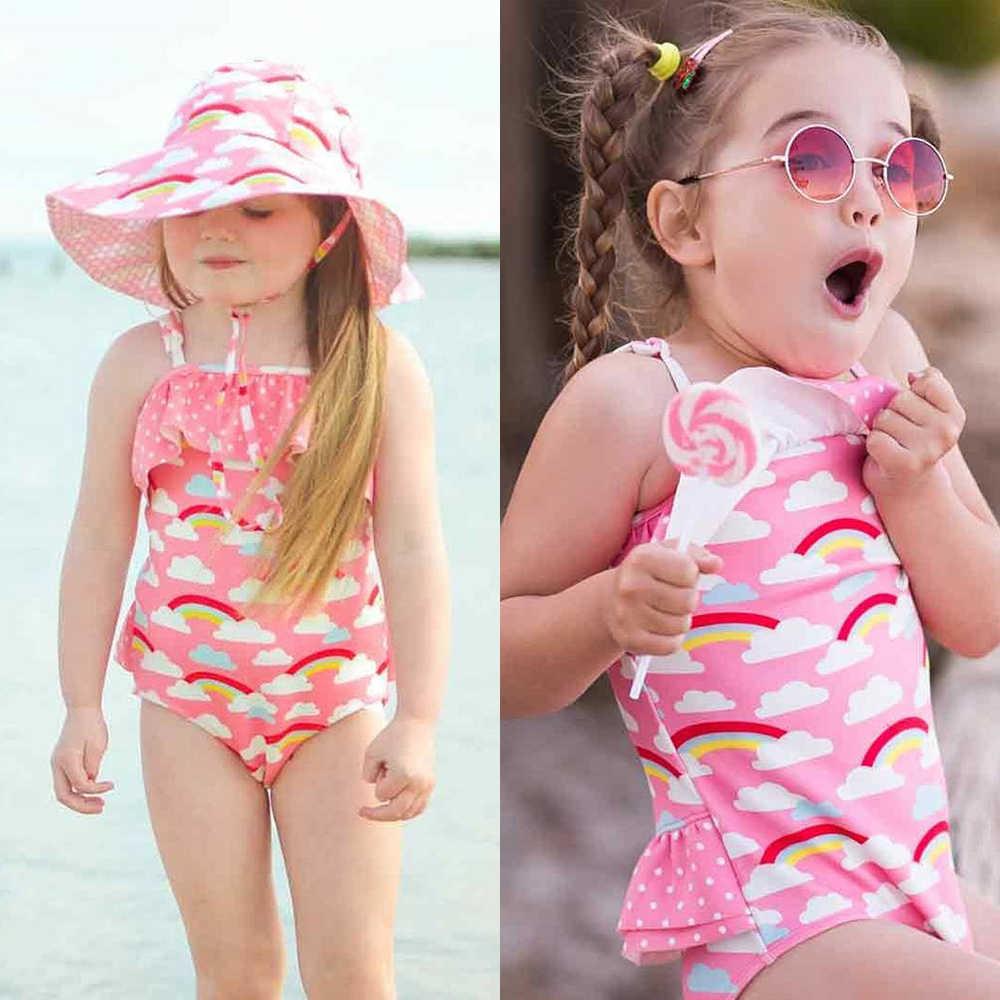 d17c80a11bc20 ... Cute Baby Kid Girl Ruffle Rainbow Swimwear One Piece Bikini 2018  Swimsuit Monikini Swimming Costume Children ...