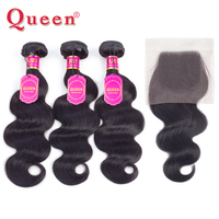 Queen Hair Products Brazilian Body Wave Hair Weave 3 Human Hair Bundles With Lace Closure Remy