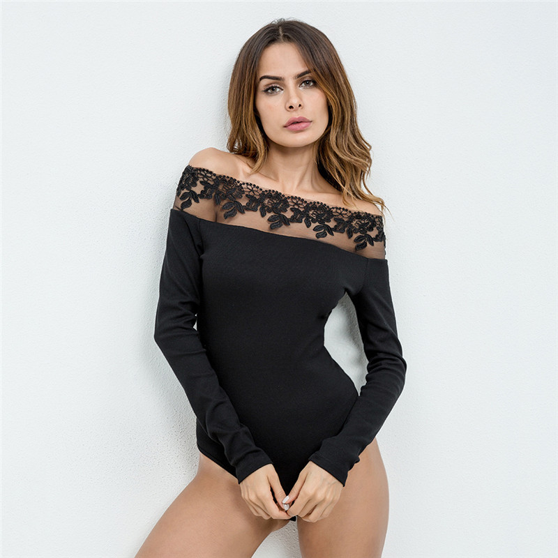 2018 Women Summer Black Lace Bodysuit Sexy Slash Neck Off Shoulder Rompers Womens Jumpsuit Shorts Slim Long Sleeve Overalls