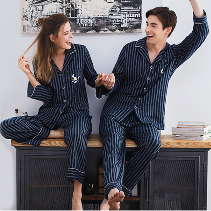 Lovers Stripe Embroidered Full Sleeve Shirt Pants Pajamas Suits  Soft Couple Nightwear Autumn Winter Sleepwear For Men And Women pajamas