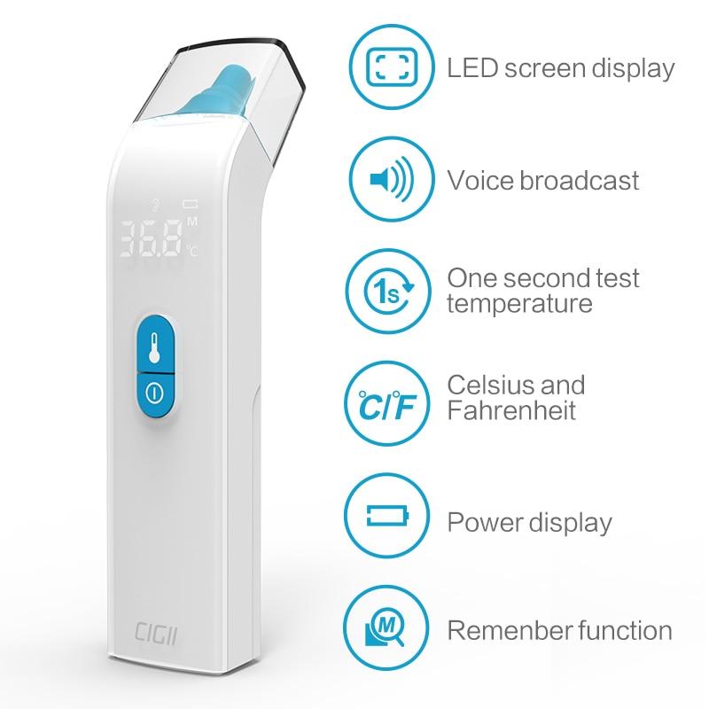 Cigii ребенка ушной термометр инфракрасный светодио дный дисплей температуры тела Детектор голосовой трансляции Здравоохранение лоб темпер...