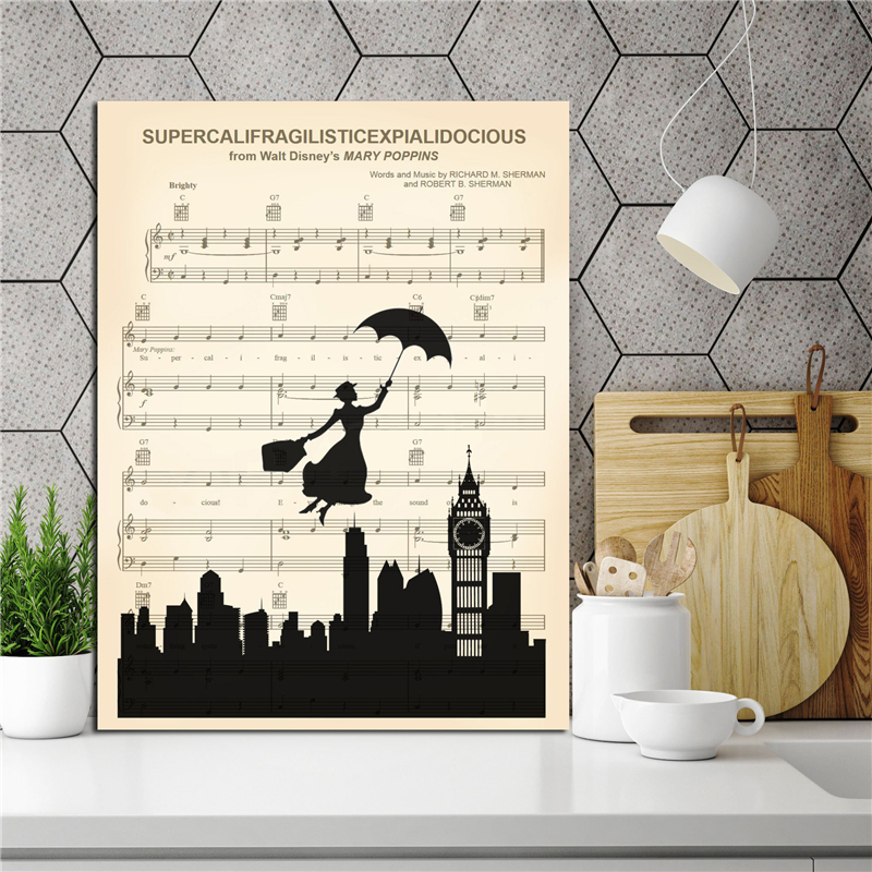 Mary  Supercalifragilisticexpialidocious Canvas Painting Print Bedroom Home Decor Modern Wall Art Oil Poster HD