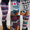 High Quality 2016 Comfortable Women girl casual Winter Christmas Snowflake Knitted Elastic printed Leggings Fitness Cotton Pants