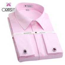 ORINERY Size S-4XL Hot Sale Soild Mens Tuxedo Dress Shirt New Long Sleeve French Cuff Shirt With Cufflinks Brand Wedding Dress