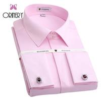 ORINERY Size S 4XL Hot Sale Soild Mens Tuxedo Dress Shirt New Long Sleeve French Cuff Shirt With Cufflinks Brand Wedding Dress