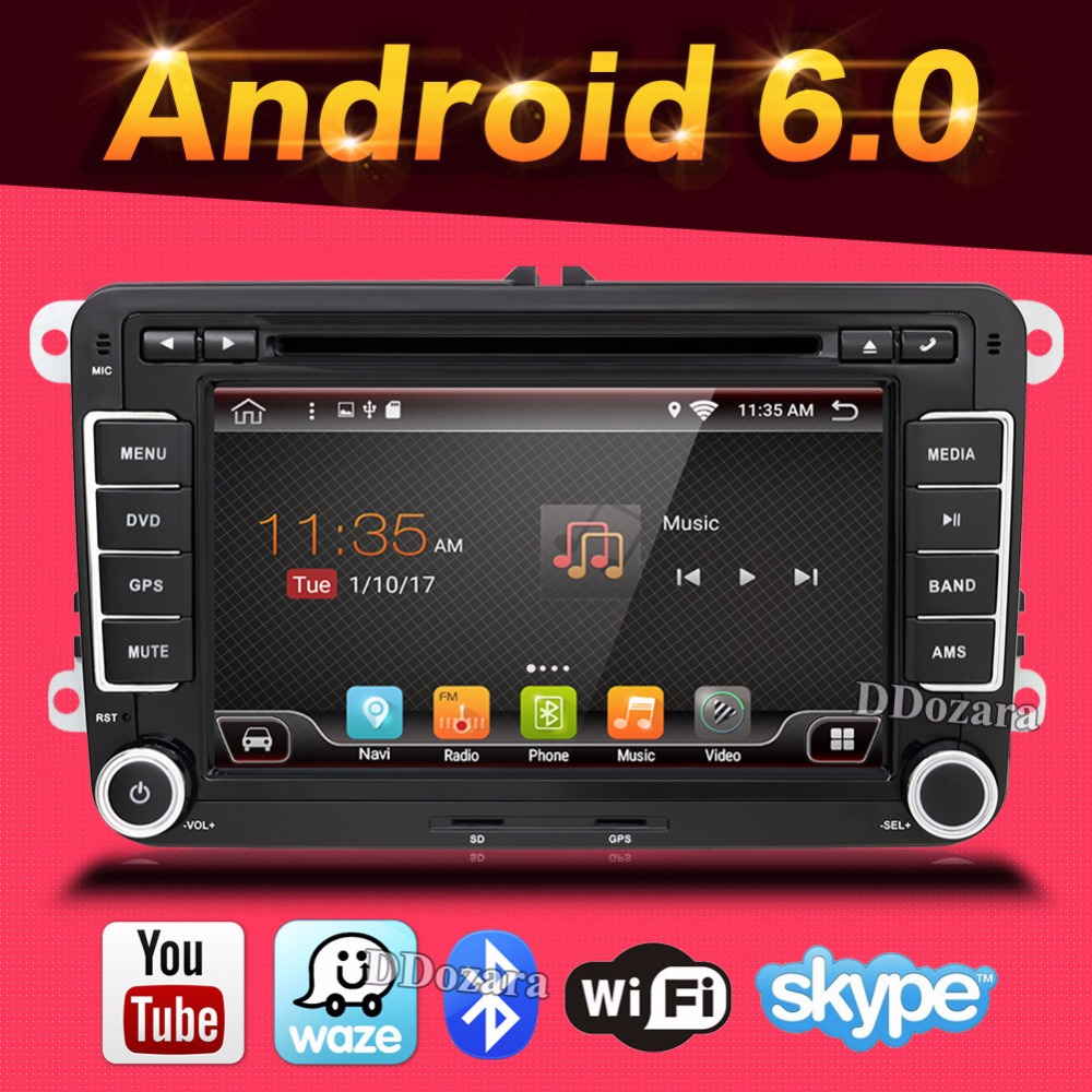 купить  Android 6.0 car dvd player gps navigation for Volkswagen skoda yeti superb rapid fabia octavia car video player radio gps 2 din  по цене 9805.68 рублей